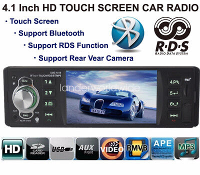 4 1 Touch Screen Bluetooth Car Radio Stereo Mp4 Usb Tf Eq Rds Rear View Camera