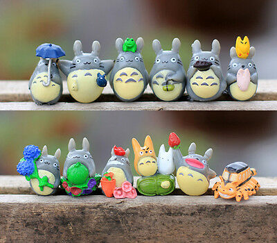 12pcs my neighbor totoro Figure Fairy Garden Accessories  Miniature Cat Figurine