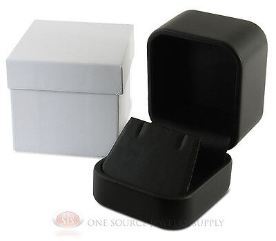 Black Leather Metal Earring Necklace Jewelry Gift Box 2w X 2 38d X 1 34h