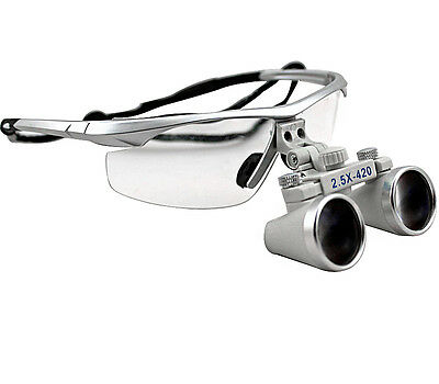 Siliver 2.5 X Dental Surgical Binocular Magnifier Loupes Glasses Dentist 420mm I