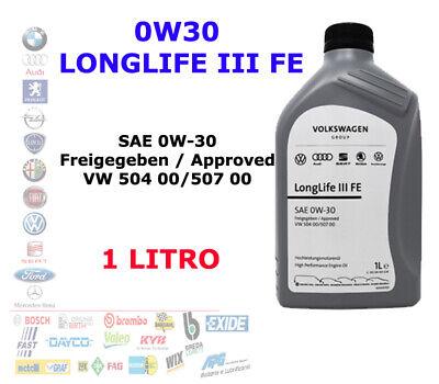 OLIO MOTORE ORIGINALE VOLKSWAGEN 0W30 LONGLIFE III FE 50400 / 50700 1 LT LITRO