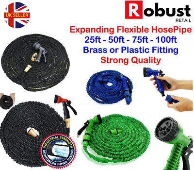 RR Expanding Flexible Magic Garden Hose Pipe 25FT - 150FT Water Pipe + Spray Gun