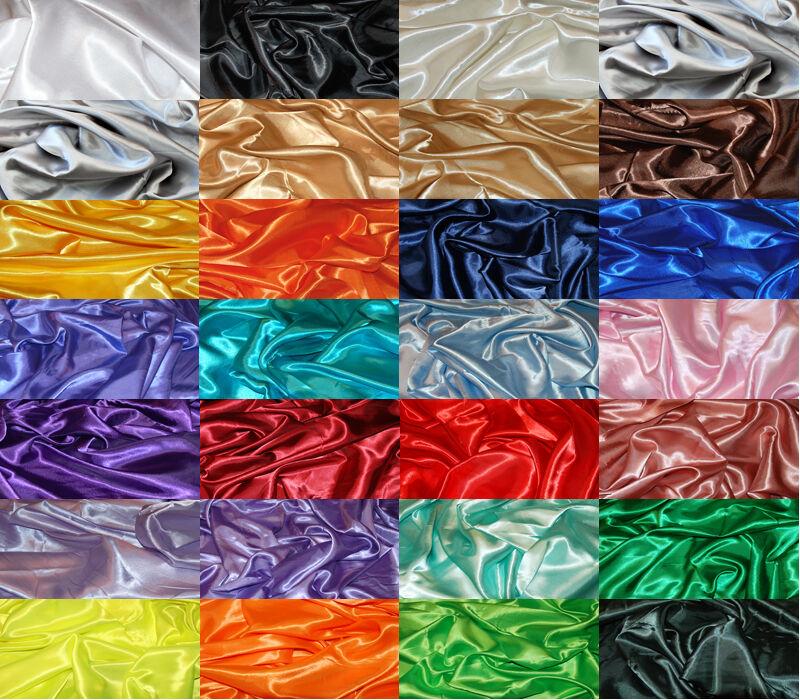 SILKY SATIN FABRIC per 1m METRE Plain Luxury Dress & Craft Material 150cm Wide