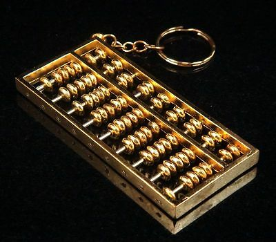 """Copper Crafted Gold Gilt Chinese Traditional Calculator Abacus Key chain 2"""" NEW"""