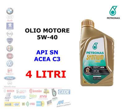 4 LITRI OLIO MOTORE 5W40 PETRONAS SYNTIUM 3000 AV API SN - ACEA C3 - DEXOS2