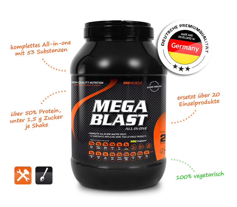 SRS MUSCLE MEGA BLAST COMPLETE ALL-IN-ONE MASTER STACK 1.900g Dose(100g/3,77€)