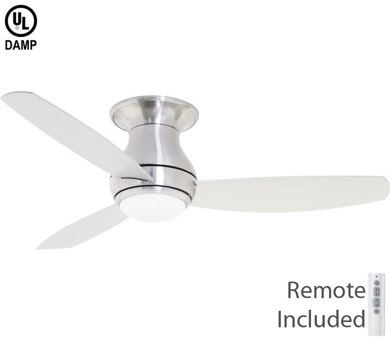 """Emerson 52"""" Curva Sky Brushed Steel Damp LED Outdoor Ceiling"""
