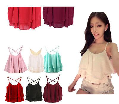 Sexy Women Crop Tops Sleeveless Strap Floral Print Chiffon Shirt Camisole Vest
