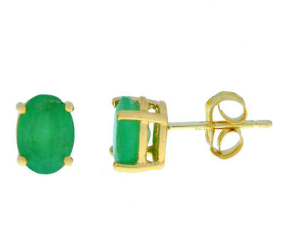 (14Kt Yellow Gold Genuine Emerald Oval 6x4mm Stud Earrings)