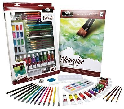 Royal & Langnickel Watercolour Paint Set Art Essentials 46 Piece Starter Kit