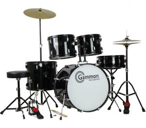 BLACK COMPLETE ADULT 5 PIECE DRUM SET - NEW NEVER USED