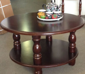 Coffee table.Wooden round, new in box