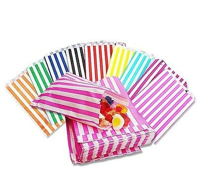 100- STRIPED CANDY PAPER BAGS 7x9 FOR SWEET FAVOUR BUFFET WEDDING CAKE GIFT SHOP](Candy Favor Bags For Candy Buffet)