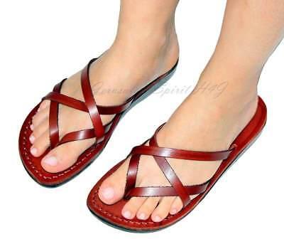 Leather Sandals Strap Flip Flops Color Handmade Jerusalem Women 35-42