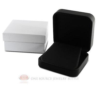 Black Leather Metal Earring Pendant Jewelry Gift Box 2 34w X 2 34d X 1 18h