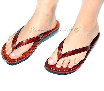 Jerusalem Biblical Jesus Flip Flops Leather Sandals Brown Handmade for Women