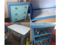 IKEA MAMMUT BLUE BEDROOM FURNITURE SET BOOKCASE BED TABLE CHEST OF DRAWERS