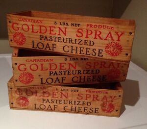 3 Rustic Vintage Wooden Cheese Boxes