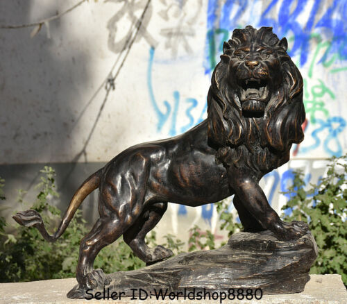 """22"""" Antique Old Chinese Bronze ferocious king of beasts Lion Leo Animal Statue"""