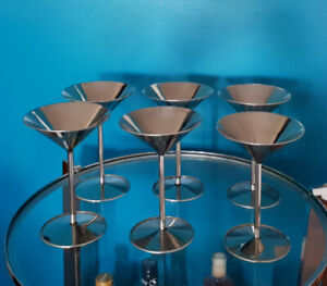 6 coupes à martini en stainless