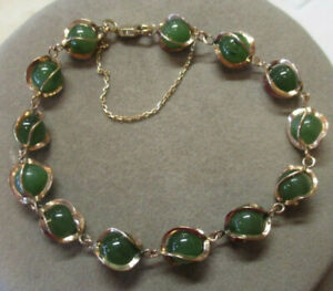 10K Solid Yellow Gold Green Jade Ball Chain Bracelet