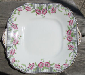 AYNSLEY ENGLAND ANTIQUE CAKE SERVING PLATE Art Deco Poppies 1920