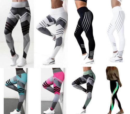Damen Yoga Fitness Sports Stretch Leggins Jogginghose Laufhose Push-up Leggings