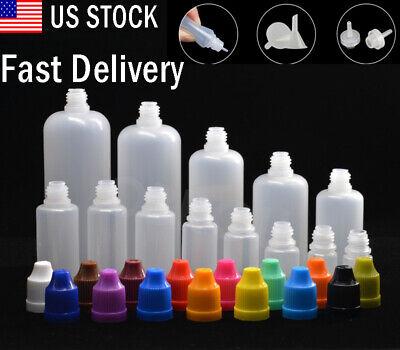 10ml-120ml Plastic Squeezable Eye Liquid Dropper Bottles With Funnels Crc Cap Us