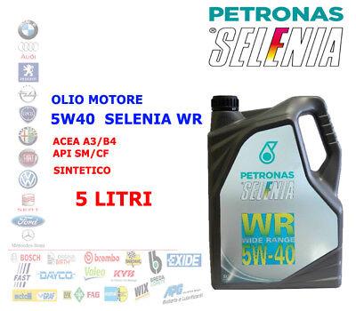 OLIO MOTORE AUTO DIESEL BENZINA SELENIA WR 5W40 5 LT ACEA A3/B4 API SM/CF SYNT