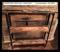 Hand crafted with 150yr old barnwood industrial shelf/console