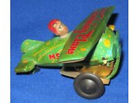 collectible Vintage Tinplate Clockwork Wind-Up Biplane / M5-011 Training Plane Toy Working