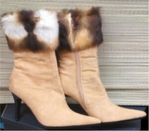 *** Size 37-Beige Suede Fur Embellished Boots with High Heel-NEW