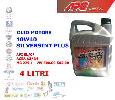 OLIO MOTORE AUTO BENZINA DIESEL 4 LT 10W40 APG SILVERSINT ACEA A3/B4 API SL/CF