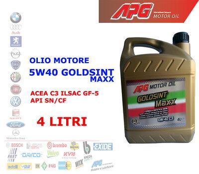 OLIO MOTORE AUTO BENZINA DIESEL 4 LT 5W40 APG GOLDSINT MAXX ACEA C3 ILSAC GF-5