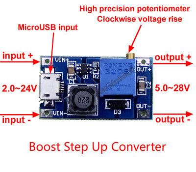 2A DC-DC Boost Step Up Voltage Converter Micro USB 2-24V To 5-28V Adj Regulator, usado segunda mano  Embacar hacia Argentina