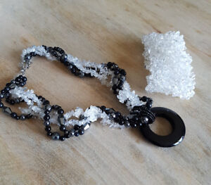 Crystal bracelet with matching crystal and black necklace
