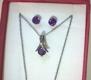 Amethyst Rope-Style Pendant Necklace, Stud Earrings Set