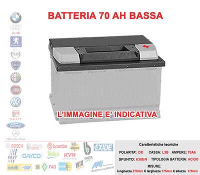 BATTERIA PER AUTO 12V 70AH POSITIVO DX SPUNTO 630A 278x175x175 = 75AH...