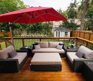 Turo Couch Set, Charcoal Wicker, SUNBRELLA (MSRP: $5595)