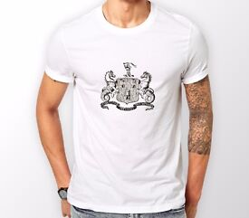 Newcastle coat of arms white T shirt. Sizes small to 2XL