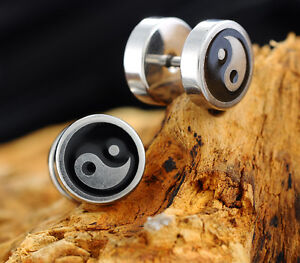 GB 1Pair Stainless Steel Screw Back Stud Earrings Round Barbell Yin Yang Sign