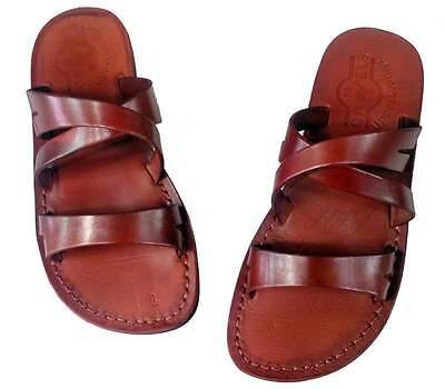 Jerusalem Biblical Jesus Sandals Brown Leather Strap Handmade Flip Flops