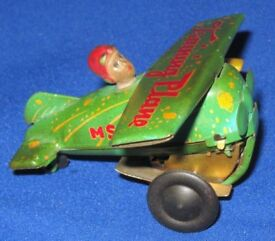 For Sale Vintage Tinplate Clockwork Wind-Up Biplane / M5-011 Training Plane Toy