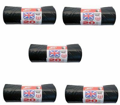 100 HEAVY DUTY BLACK REFUSE SACKS  RUBBISH BAGS STD BIN LINER 145CM x 84CM