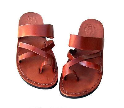 Jerusalem Biblical Jesus Sandals Brown Leather Unisex Strap Flip-Flops Handmade