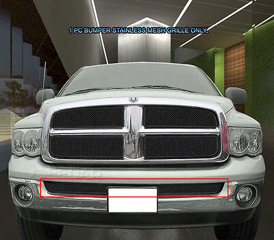 Fits 2002-2005 Dodge Ram 1500 2500 3500 Black Stainless Mesh Grille Grill Bumper (2005 Dodge Ram 2500 Grill)
