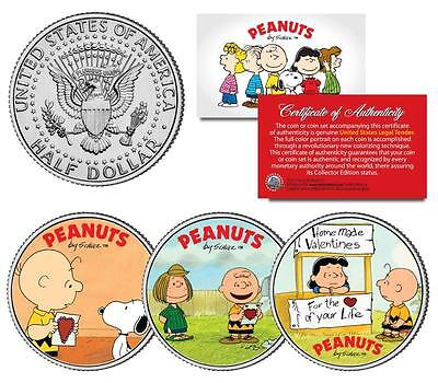 Charlie Brown PEANUTS VALENTINES Snoopy Lucy & Patty JFK Half Dollar 3-Coin Set](Peanuts Valentine)