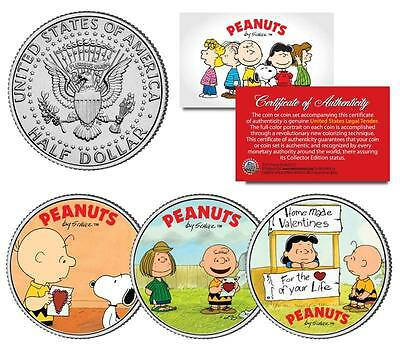 Charlie Brown PEANUTS VALENTINES Snoopy Lucy & Patty JFK Half Dollar 3-Coin Set](Peanut Charlie Brown)