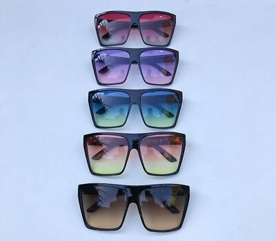 Mens XXL New Big Square Flat Top Ombre Lens Large Cool Hipster Sunglasses (Mens Hipster Sunglasses)