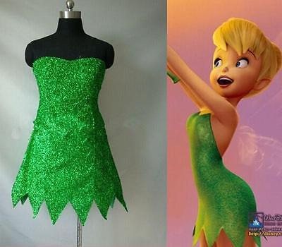 Tinker Bell Cosplay Tinkerbell Dress Green Fairy Pixie cosplay Adult Costume (Costume Tinkerbell)